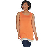 LOGO Layers by Lori Goldstein Straight Hem Knit Tank with Lace Trim - A264422