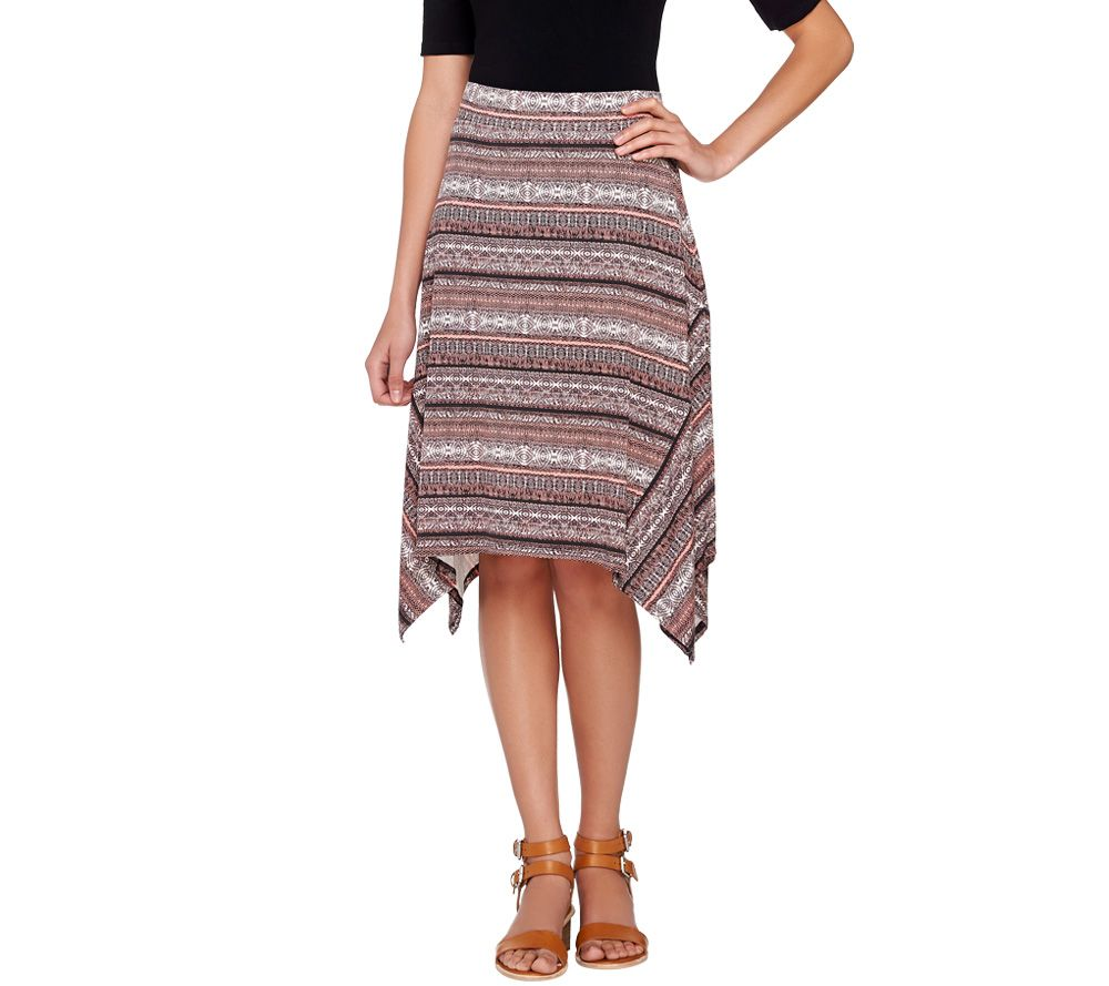 Lisa Rinna Collection Printed Knit Midi Skirt with Shark-Bite Hem ...