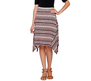 Lisa Rinna Collection Printed Knit Midi Skirt with Shark-Bite Hem - A264722