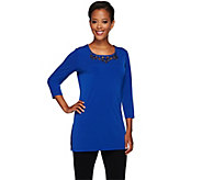 Susan Graver Artisan Liquid Knit Tunic with Embellishment - A266822