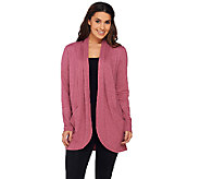 LOGO Lounge by Lori Goldstein French Terry Cocoon Cardigan with Pockets - A268922