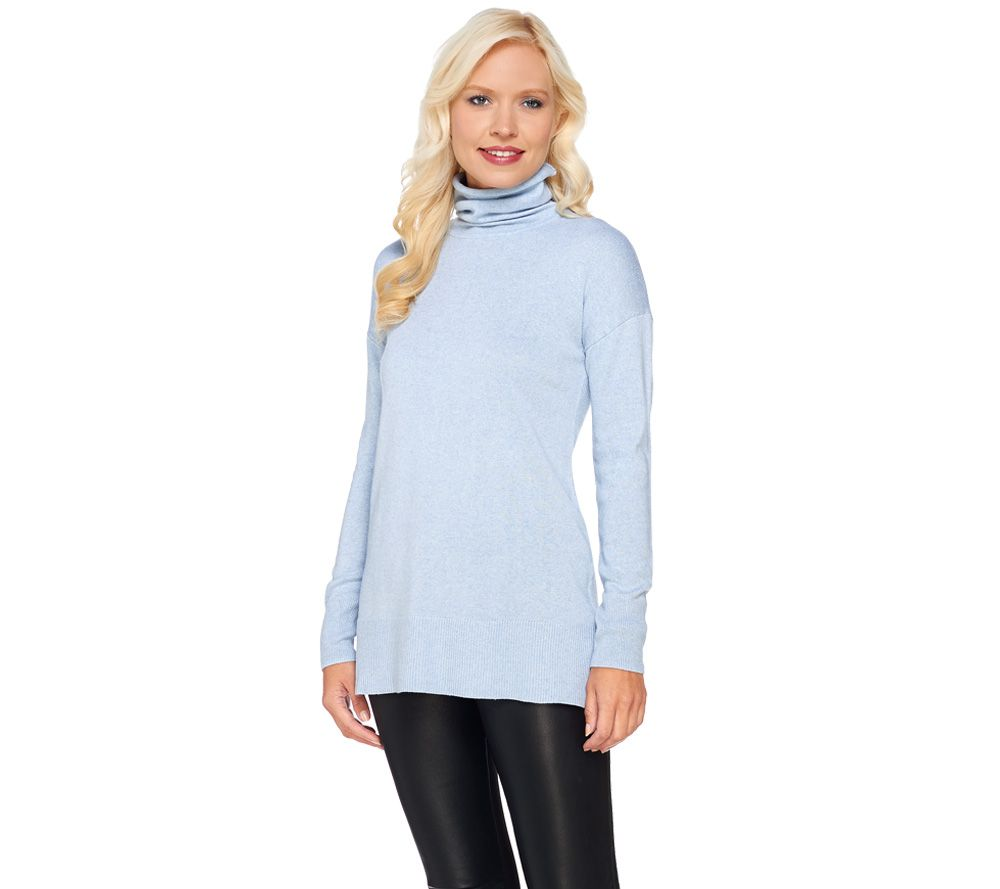 H by Halston Silk-Cashmere Blend Funnel Neck Pullover Sweater - A269422