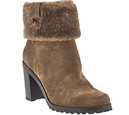 H by Halston Leather Stacked Heel Ankle Boots with Faux Fur - Cindy - A271622