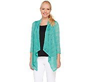 As Is LOGO by Lori Goldstein Ribbed Knit 3/4 Sleeve Open Front Cardigan - A271822
