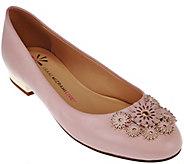 Isaac Mizrahi Live! Leather Ballet Flats w/ Floral Embellishments - A273922