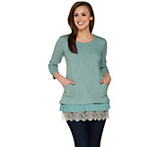 LOGO Lounge by Lori Goldstein Top with Chiffon and Lace Trim - A274122