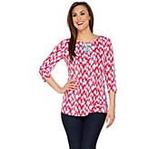 Susan Graver Artisan Printed Liquid Knit 3/4 Sleeve Top w/Embellishment - A274522
