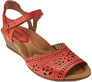 Earth Leather Perforated Sandals with Adj. Ankle Strap - Ibis - A275422
