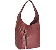 As Is orYANY Italian Grain Leather Hobo with Quilting - Lucianna - A275922