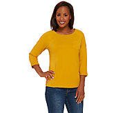As Is Denim & Co. Essentials Jersey 3/4 Sleeve Top_with Curved Hem - A276022
