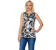 Susan Graver Printed Liquid Knit Sleeveless Top w/ Keyhole Trim - A276422