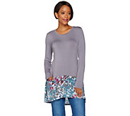 LOGO by Lori Goldstein Printed Hem Top w/ Faux Suede Lined Pockets - A276622