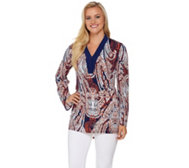 Attitudes by Renee Long Sleeve Printed V-Neck Knit Tunic