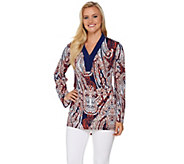 Attitudes by Renee Long Sleeve Printed V-Neck Knit Tunic - A277522
