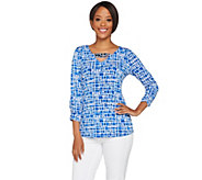 Susan Graver Artisan Printed Liquid Knit Embellished Top - A277822