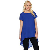 H by Halston Sheer Short Sleeve Hi-Low Hem Tunic - A278922