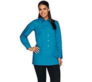 Joan Rivers Long Sleeve Boyfriend Shirt with Chest Pocket - A279622