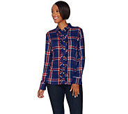 C. Wonder Plaid Button Front Carrie Blouse with Ruffle Detail - A279722