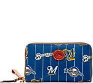 Dooney & Bourke MLB Nylon Brewers Zip Around Phone Wristlet - A281722