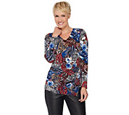 Susan Graver Printed Liquid Knit Top with Side Zipper - A285422