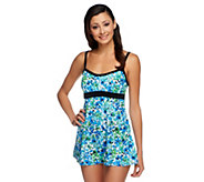 As Is Fit 4 U Thighs Airbrush Floral Banded Empire Swim Dress - A286022