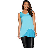 H by Halston Woven Sleeveless Tunic with Pleated Detail - A287122