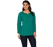As Is Susan Graver Feather Weave Peasant Top with Cold Shoulder - A287822
