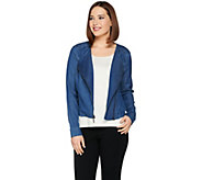 H by Halston Stretch Chambray Motorcycle Jacket - A288622