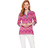 C. Wonder Floral Tile Print 3/4 Sleeve Knit Tunic - A288922