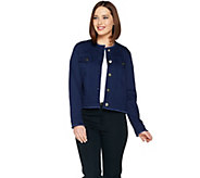 Belle by Kim Gravel Jean Jacket with Frayed Edge Detail - A289022