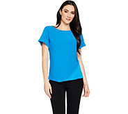 Attitudes by Renee Roll Sleeve Crepe Jersey Top - A290722