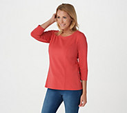 Bob Mackies Scoop Neck 3/4 Sleeve Knit Top - A293822