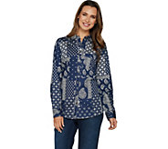 Denim & Co. Patchwork Print Button Front Collared Long Sleeve Shirt - A294022