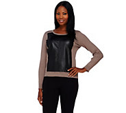 As Is Styled by Joe Zee Sweater with Faux Leather Panel - A294122