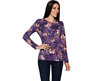 Denim & Co. Floral Print Long Sleeve Round Neck Top - A296222