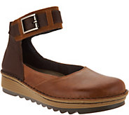 Naot Leather Colorblocked Slip-on Shoes w/ Ankle Strap - Sycamore - A297322