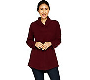 Denim & Co. Fleece Shawl Collar Long Sleeve Tunic with Pockets - A297922