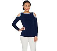 As Is Susan Graver Liquid Knit Long Sleeve Cold Shoulder Top - A298422