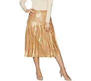 Du Jour Metallic Faux Suede Pleated Midi Skirt - A300222