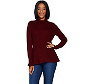 As Is Isaac Mizrahi Live! 2-Ply Cashmere Turtleneck Peplum Sweater - A309222