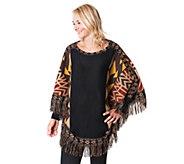 MUK LUKS Womens Knit Fringe Ponchos - A355922