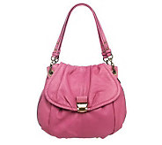 As Is B. Makowsky Glove Leather Ruched Shopper w/Chain Detail - A226623