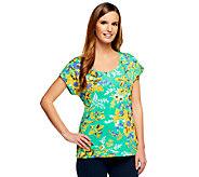 Isaac Mizrahi Live! Floral Printed Scoop Neck T-Shirt - A231623