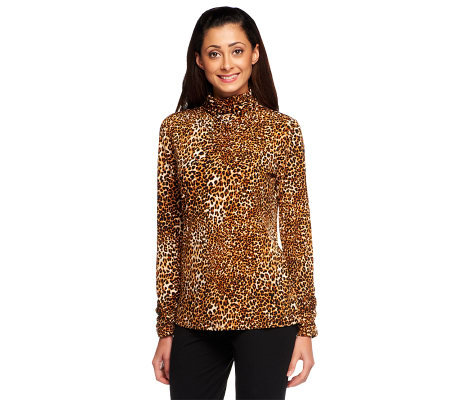Susan Graver Animal Print Liquid Knit Ruched Turtleneck Top
