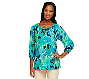 Susan Graver Liquid Knit 3/4 Sleeve Printed Peasant Top - A251323
