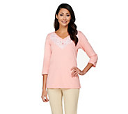 Bob Mackies 3/4 Sleeve Lace Embroidered Pullover Top - A252323