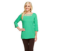 Quacker Factory Square Neck 3/4 Sleeve Rhinestone Cutout T-shirt - A254423