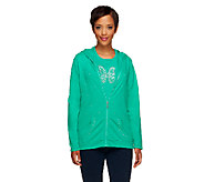 Quacker Factory French Terry Jacket and Sparkle Knit T-shirt Set - A255523