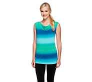 Susan Graver Printed Liquid Knit Drape Neck Top - A255723