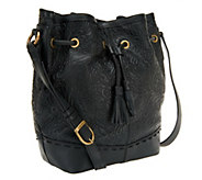 As Is Muxo by Camila Alves Tooled Leather Drawstring Hobo Bag - A256123
